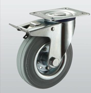 Колесо поворотное с крепежной панелью и тормозом 1504-ST-125-R