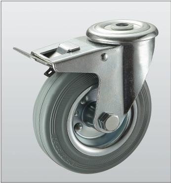 Колесо поворотное с отверстием и тормозом 1206-ST-125-R
