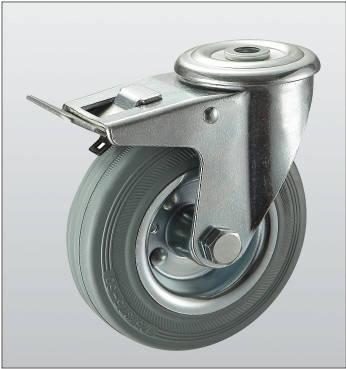 Колесо поворотное с отверстием и тормозом 1206-ST-080-R