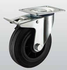 Колесо поворотное с крепежной панелью и тормозом STANDART 1204-ST-160-P