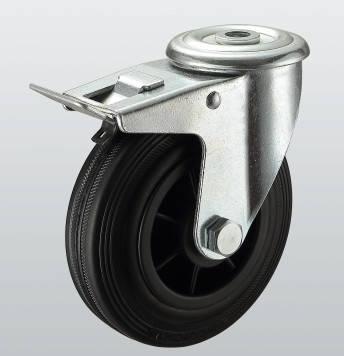 Колесо поворотное с отверстием и тормозом STANDART 1206-ST-200-P
