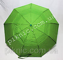 Женский зонт складной с ветровым клапаном полуавтомат. Зонтик от дождя. Салатовый