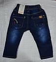 Детские джинсы теплые на флисе синие р. 6, 12, 18 мес (Seagull, Венгрия), фото 2