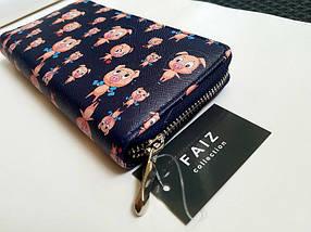 Женский кошелек с принтом «свинки» синий, фото 2