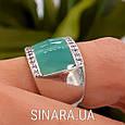 Серебряное кольцо с бирюзовой эмалью и фианитами, фото 8