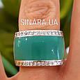 Серебряное кольцо с бирюзовой эмалью и фианитами, фото 7