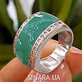 Серебряное кольцо с бирюзовой эмалью и фианитами, фото 3