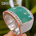 Серебряное кольцо с бирюзовой эмалью и фианитами, фото 4