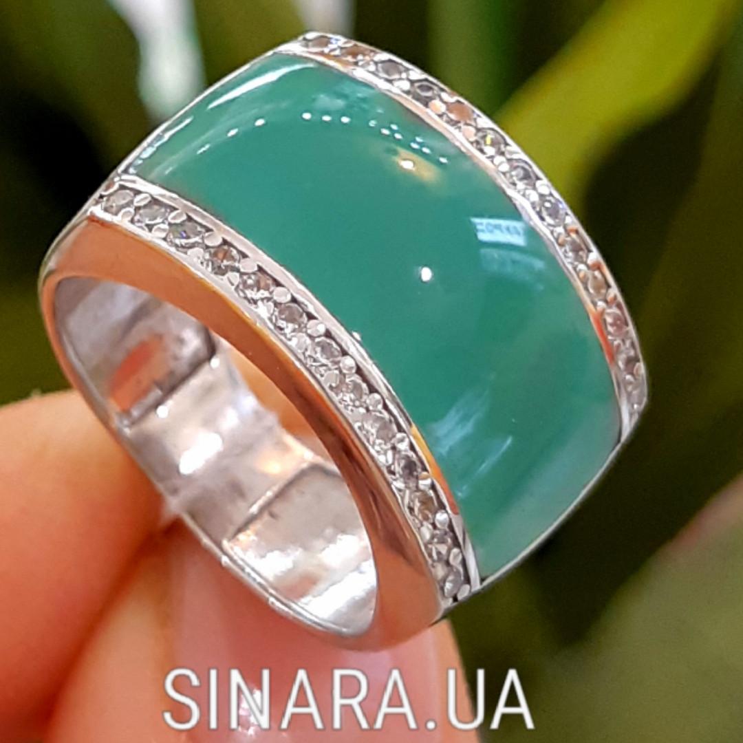 Серебряное кольцо с бирюзовой эмалью и фианитами