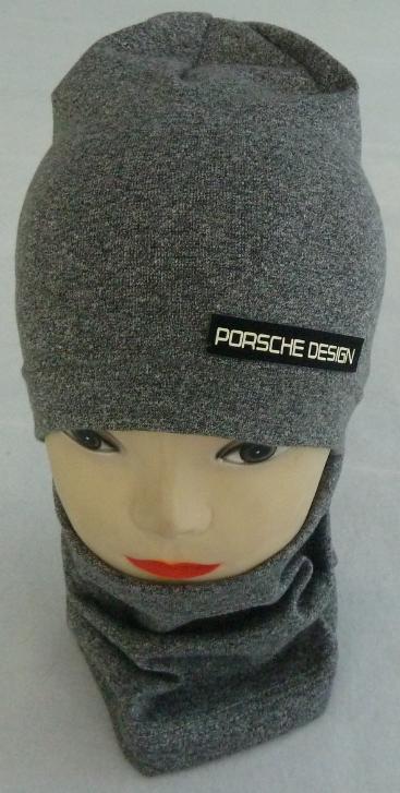 """Стильная трикотажная шапка+хомут на мальчика """"PORSCHE DESIGN"""" 3-8 лет, разные цвета"""