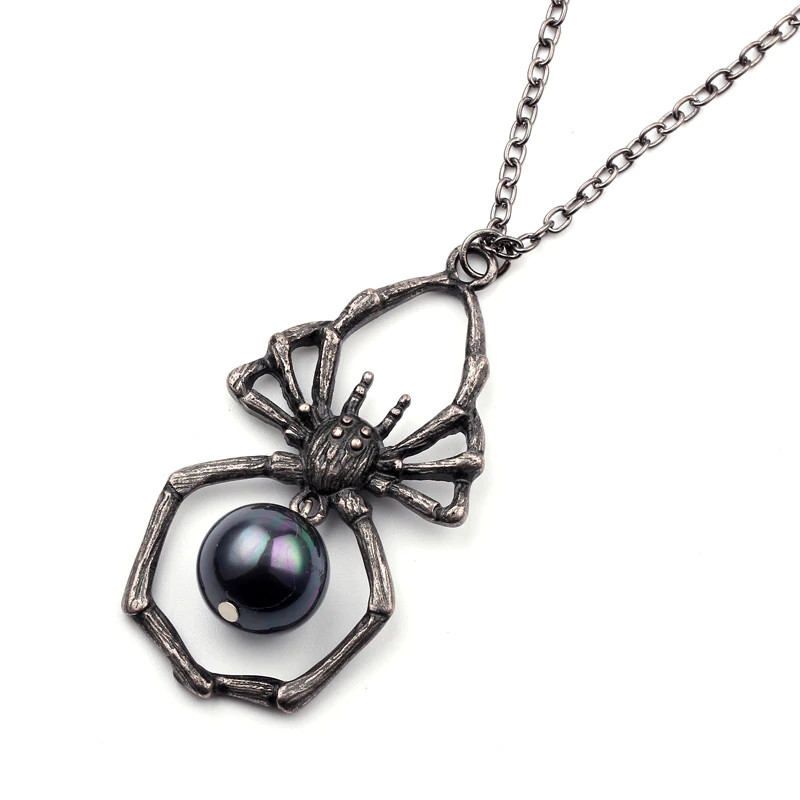 Готический кулон паук с черной жемчужиной