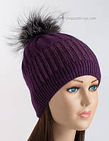 Вязаная теплая шапочка Барселона фиолетовая
