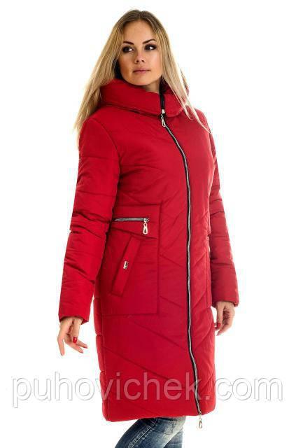 Удлиненная зимняя куртка женская пуховик