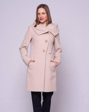 Женское пальто приталенное, капюшон М1266, фото 2