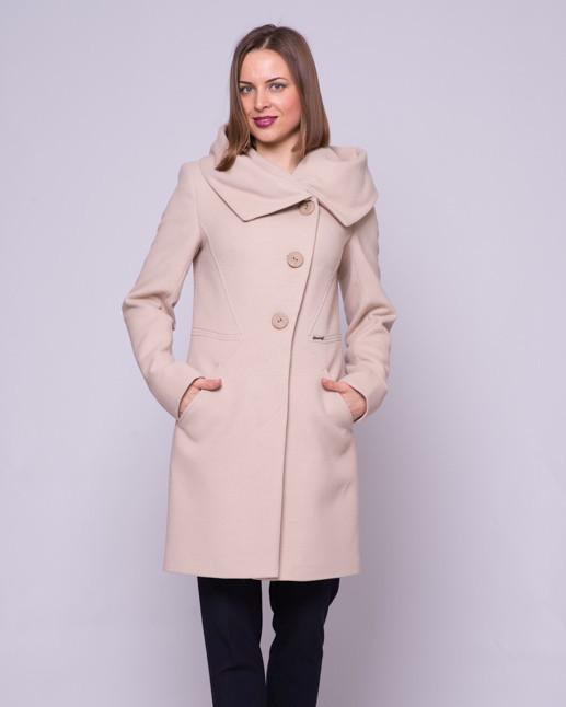 Женское пальто приталенное, капюшон М1266