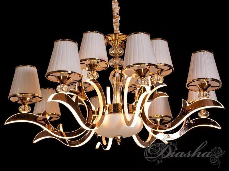 Большая классическая люстра с подсветкой рожков 8329/8+4G