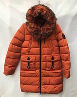 Полу-пальтозимнее подростковое со съемным мехомдля девочки от 9 до 13лет,кирпичного цвета, фото 1