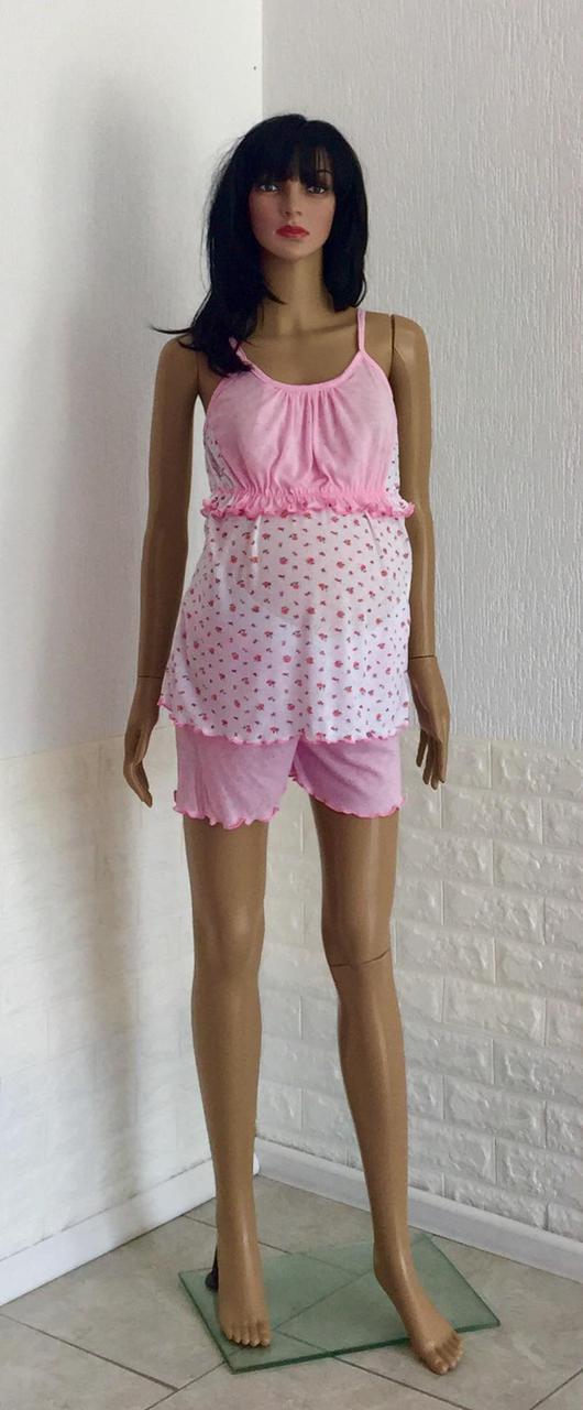 Трикотажная летняя пижама с шортами для беременных и кормящих мам