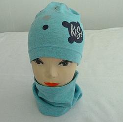 Модный осенний комплект шапк+хомут для девочки  KISS 3-8 лет, разные цвета