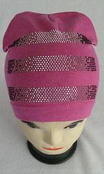 Модная осенняя шапка для девочки  Полоска 3-8 лет, разные цвета