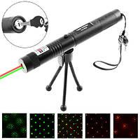 Фонарь-лазер зеленый + красный HJ-308, 4 режима, 1x18650, ЗУ 220V, ключ блокировки, ремешок на руку, штатив