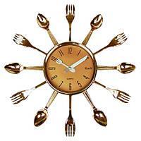 """Часы кухонные настенные """"Ножи, вилки, ложки"""" 32х32см (золото)"""