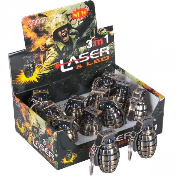 Брелок Граната  (лазер и фонарик) металл