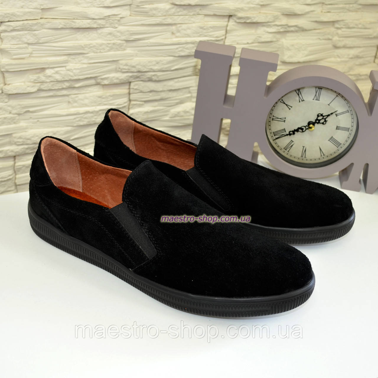Мужские туфли-мокасины из натуральной черной замши, на плоской подошве