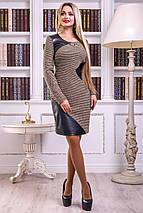 Женское демисезонное платье с экокожей (2436-2438 svt), фото 3