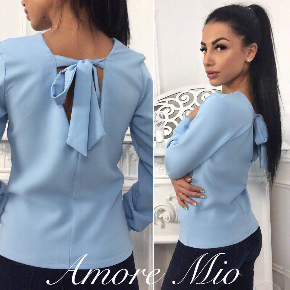 b1f73c608 Кофточка блуза красивая модная с бантом на спине разные цвета Bl274 -  Shoppingood в Харькове