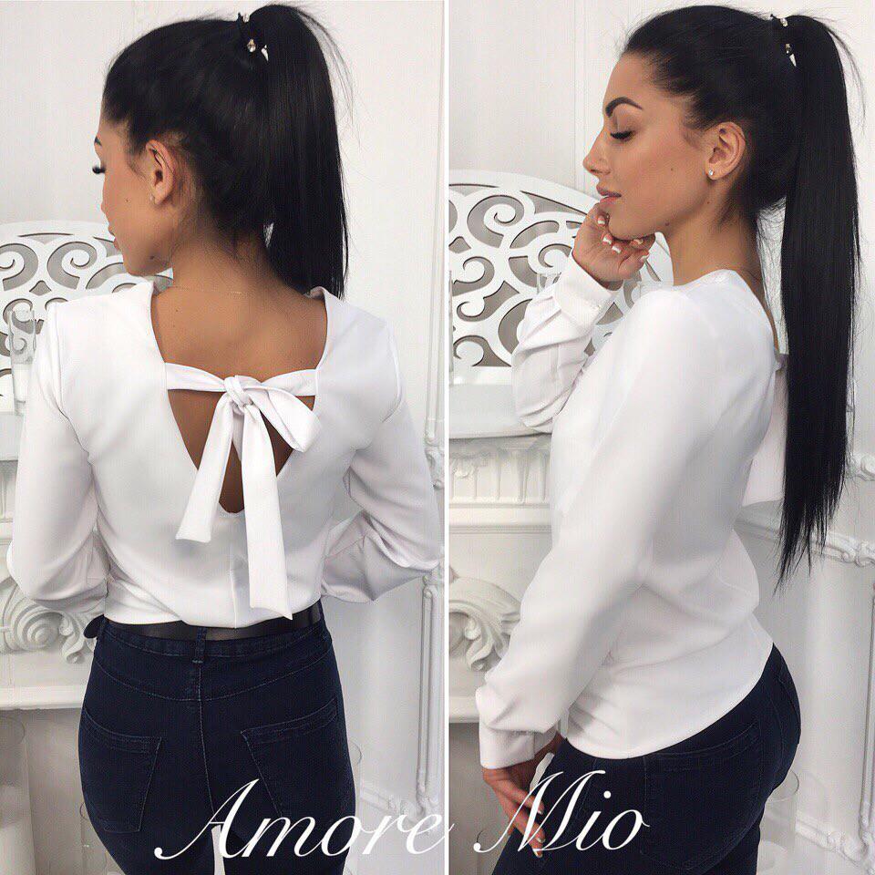 65a9eae91 Кофточка блуза красивая модная с бантом на спине разные цвета Bl274, цена  350 грн., купить в Харькове — Prom.ua (ID#768947705)