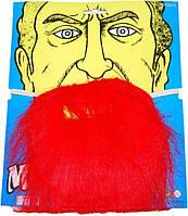 Борода искусственная на резинке, цвет красный, борода Пирата