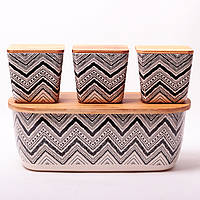 Хлебница Kamille 36*20.2*13.5 см из бамбукового волокна с бамбуковой крышкой и с 3 емкостями 11*11*10.6 см