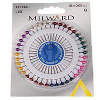 Булавки Milward 2113101 с перламутровыми головками в ассортименте, 40 шт.