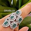Шикарний ексклюзивний срібний перстень з натуральними смарагдами, фото 8