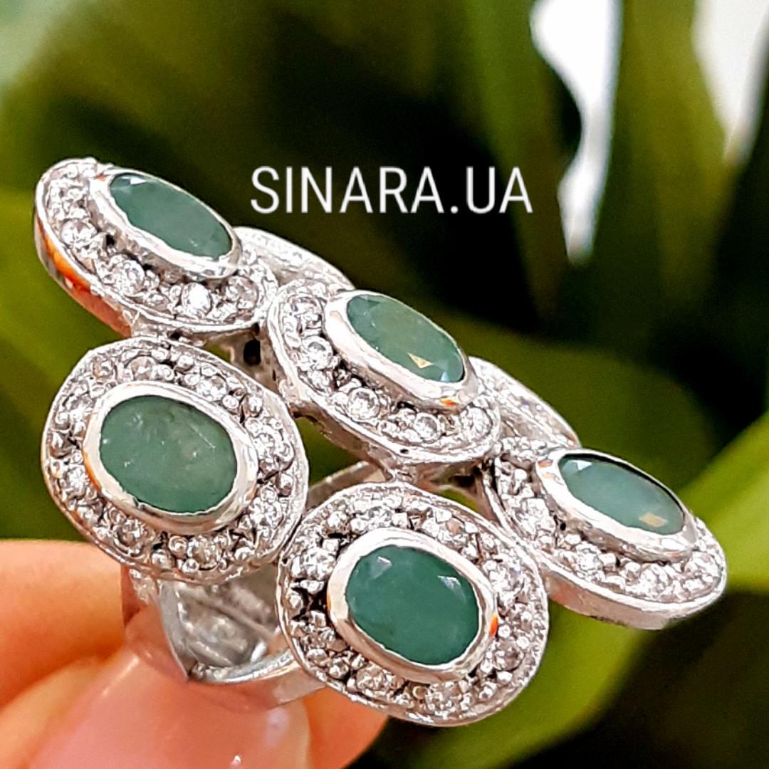 Шикарний ексклюзивний срібний перстень з натуральними смарагдами