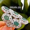 Шикарный эксклюзивный серебряный перстень с натуральными изумрудами