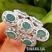 Шикарний ексклюзивний срібний перстень з натуральними смарагдами, фото 3