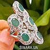 Шикарний ексклюзивний срібний перстень з натуральними смарагдами, фото 2
