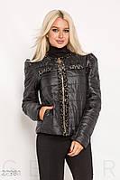 Легка куртка жіноча з вельветовій обробкою і двома кишенями у швах на блискавці (2 кольори) - Чорний АТ/-9324, фото 1