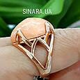 Брендовое серебряное кольцо с позолотой и кораллом, фото 5