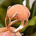 Брендовое серебряное кольцо с позолотой и кораллом, фото 4