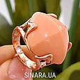 Брендовое серебряное кольцо с позолотой и кораллом, фото 2