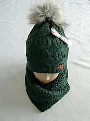 Комплект шапка с бубоном и шарф зимний, разные цвета (указаны на фото)