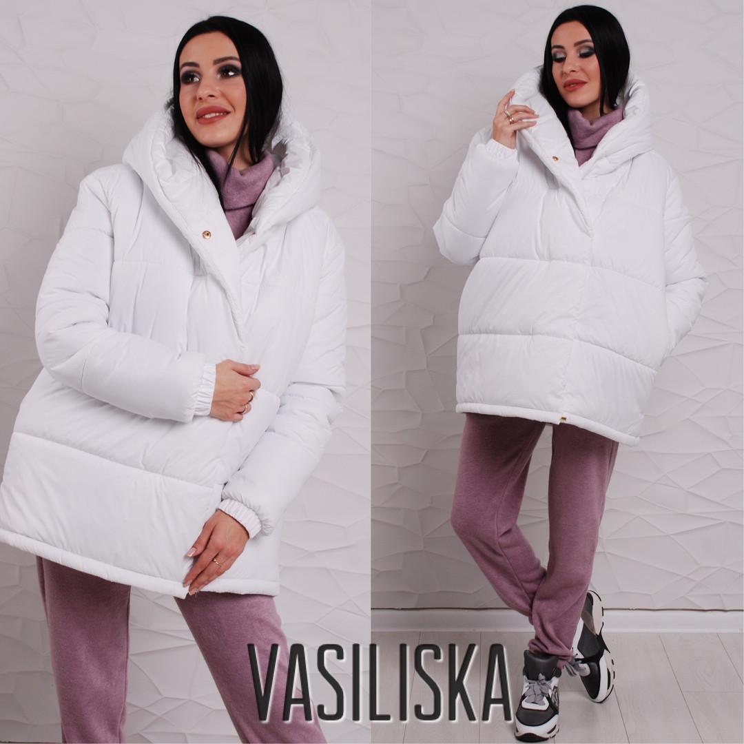 7ebb1c89f91 Белая зимняя свободная куртка-парка с капюшоном - Интернет-магазин