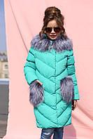 Зимнее пальто для девочек Банни бирюза, фото 1