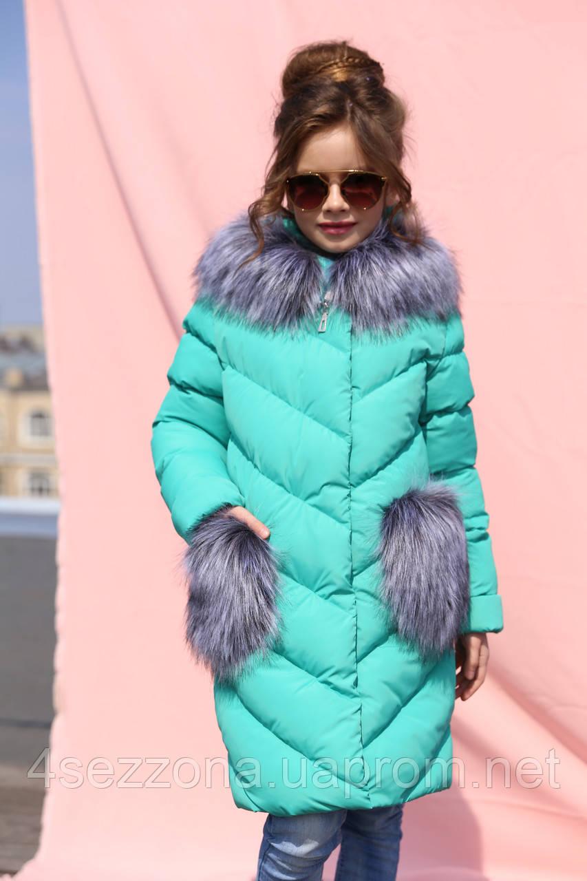 Зимнее пальто для девочек Банни бирюза
