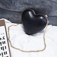 Маленькая сумочка для девочки Сердечко черная