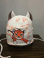 Демисезонная шапка с тигром для мальчика