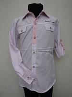 Рубашка для мальчиков 128,140,152,164 роста Нежно-розовая